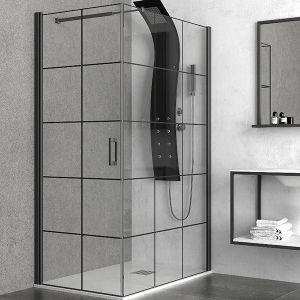 KARAG NERO FREE 1 душ-параван за баня с черен обков