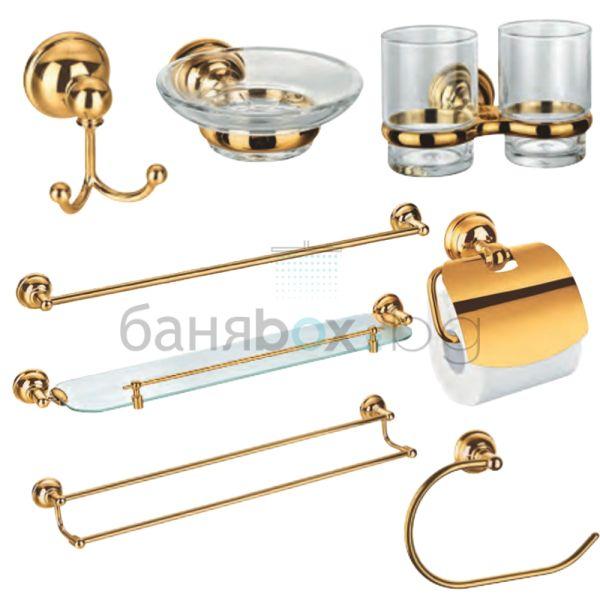 златни аксесоари за баня