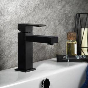 Черен смесител за мивка Ergo-Q с изпразнител