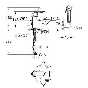 GROHE EUROSMART COSMOPOLITAN M смесител за мивка с хигиенен душ