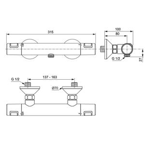 IDEAL STANDARD CERATHERM T25 термостатен смесител за душ