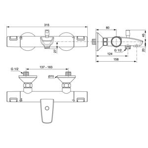 IDEAL STANDARD CERATHERM T25 термостатен смесител за душ с чучур