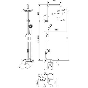 VIDIMA SEVA L душ система с едноръкохватков смесител с чучур