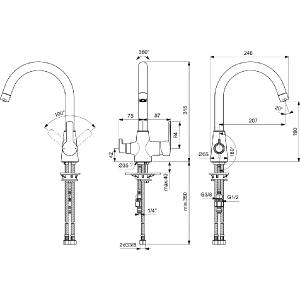VIDIMA CALISTA смесител за кухня с двупътен чучур, за комбинация с филтър