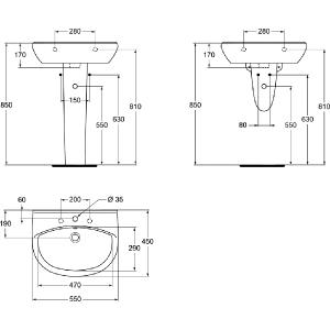 VIDIMA ULYSSE-STYLE 55 мивка за баня