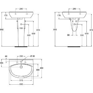 VIDIMA ULYSSE-STYLE 60 мивка за баня