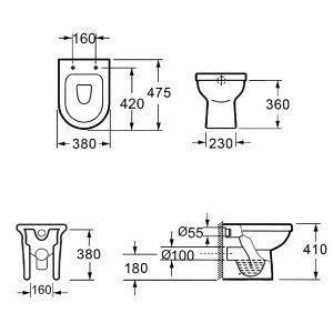 KARAG PAROS стояща тоалетна