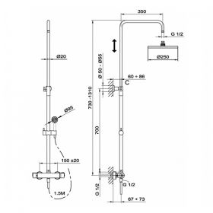 TEKA INCA термостатична душ-система