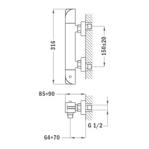 TEKA SOLLER термостатичен смесител за душ